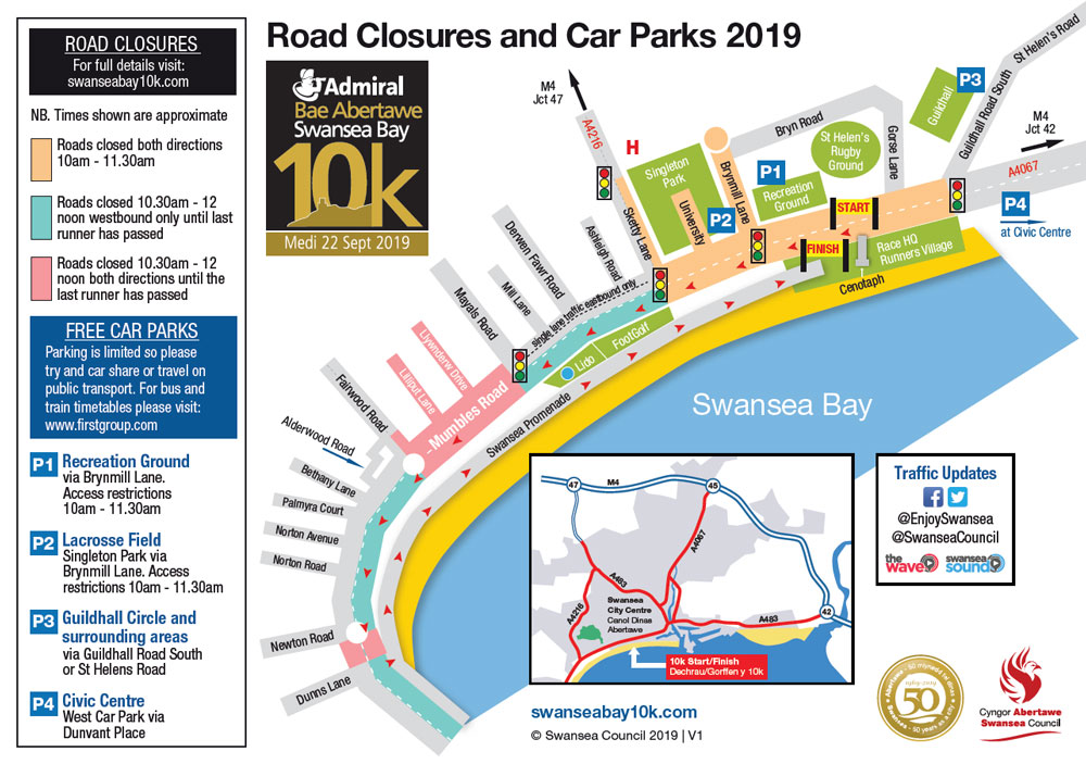 Map of the road closures for the 2019 Admiral Swansea Bay 10k