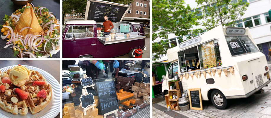 photos of the various street food traders at Superheroes in Castle Square event