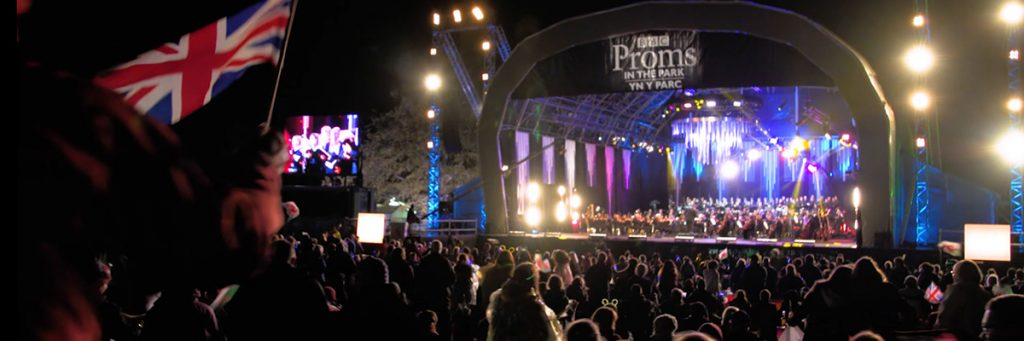 The BBC Proms in the Park stage in Swansea Singleton Park